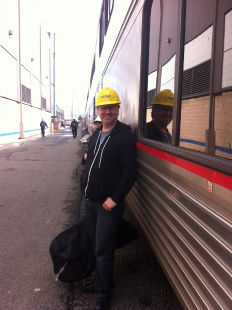 Rockin an Amtrak hardhat